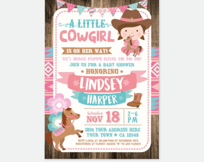 Cowgirl Baby Shower Invitation, Girl Baby Shower Invitation, Horse Baby Shower Invitation, Country Shower, Personalized Digital Invitation