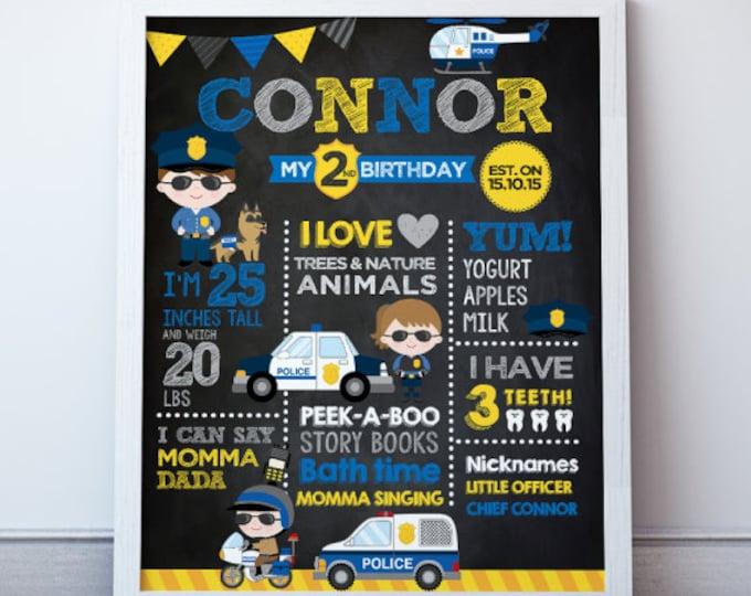 Police Birthday Poster, Police Birthday Party, Police Print, Any Age, DIGITAL