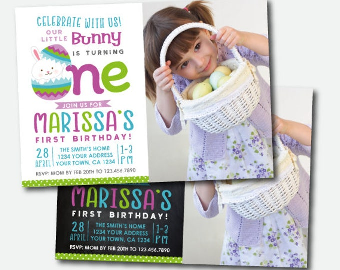 Easter Invitation with photo, Easter first birthday Invite, Egg Hunt Party, Little Bunny Invite, Digital Personalized Invitation, 2 Options