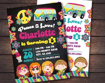 Hippie Invitation, Groovy Invitation, Peace and love invitations, 60s Birthday Invitation, Music Invitation, 2 options, DIGITAL