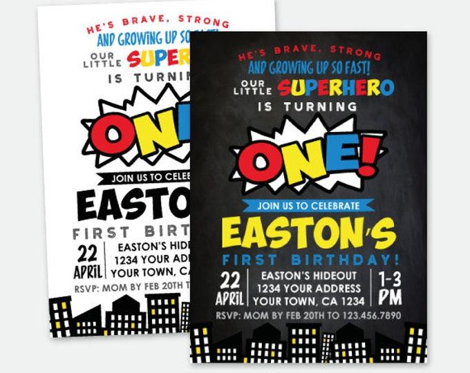 Superhero Boys First Birthday Invitation, ANY AGE, Superheroes Birthday Party, Personalized Digital Invitation, 2 Options