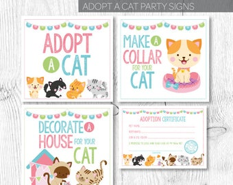 Pet adoption party, Cat adoption party, Kitty Adoption party, Kitty Cat Birthday, Adoption certificate, Printable Signs, Instant download