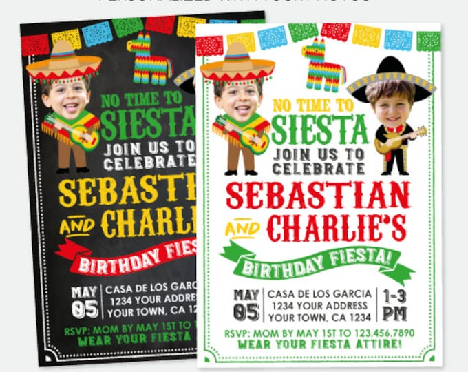Fiesta Invitation With Photo, Sibling Birthday Invitation, Fiesta Joint Party, Mexican Birthday Invitation, Personalized Digital Invitation