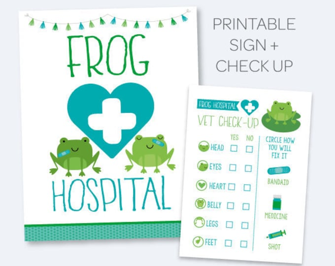 Frog Hospital Sign + Vet check up, Pet Adoption Party, Printable sign and certificate, Frog Adoption Party, INSTANT DOWNLOAD