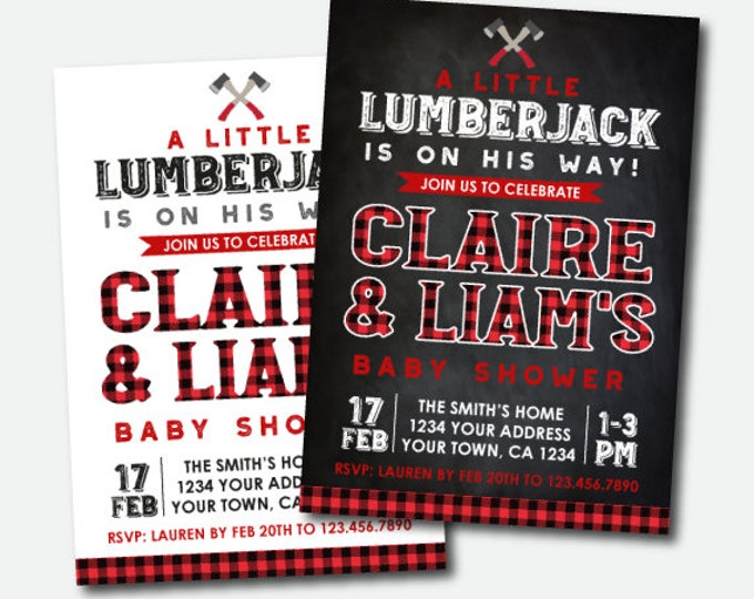 Lumberjack Baby Shower Invitation, Plaid Baby Shower Invitation, Boy Baby Shower, Personalized Digital Invite