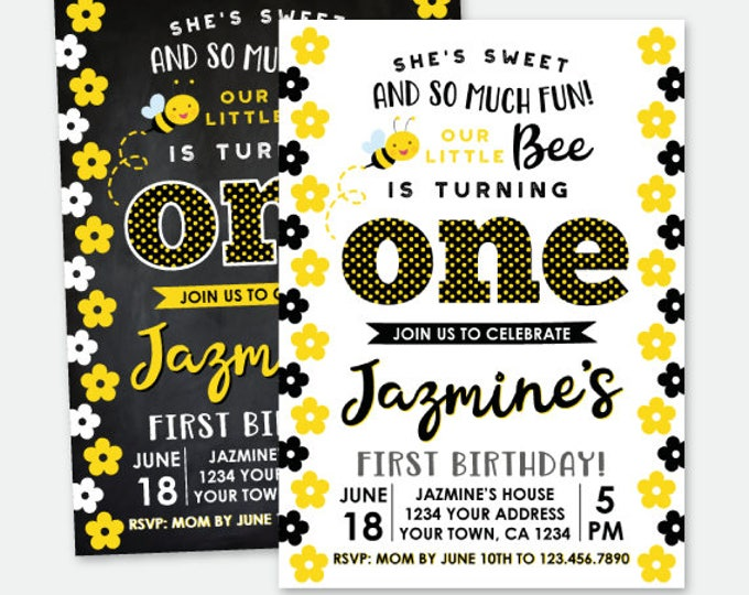 Bee First Birthday Invitation, Bee Birthday Party, Personalized Digital Invitation, 2 options