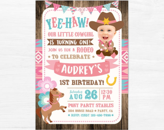 Cowgirl Invitation with picture, Pony Birthday Invitation, Girl First Birthday Invitation, Horse Party Invites, DIGITAL, 2 Options