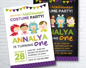 Halloween Birthday Invitation, First Halloween Invitation, Costume party invitation, Halloween Invites, Halloween Party, 2 options, DIGITAL