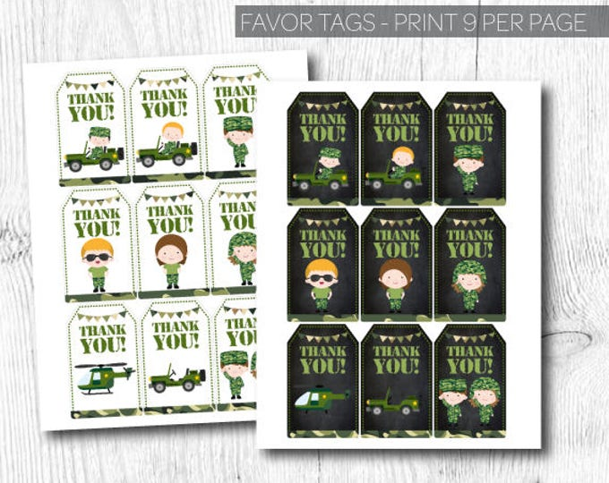 Army Favor Tags, Military Birthday Party, Military Thank you tags, Soldier Birthday Party, Instant download