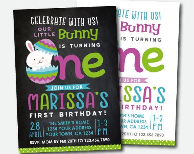 Easter Invitation, Easter Birthday Invite, Little Bunny Invitation, Egg Hunt Invitation, Digital Personalized Invitation, 2 Options