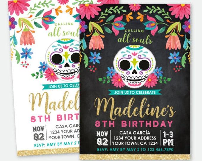 Dia de los Muertos Birthday Invitation, Day of the Dead Party, Sugar Skull Invitation, Personalized Printable DIGITAL Invite, 2 options