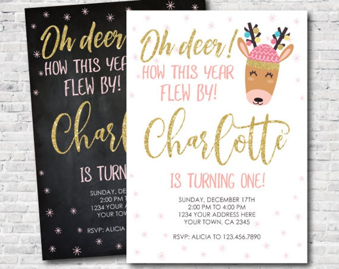 Christmas Deer Birthday Invitation, Glitter and pink Holiday Party Invitation, Christmas Party, DIGITAL