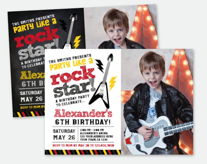 Rock Star Invitation with Photo, Rock Invitations, Rockstar Birthday Party, Personalized Digital Invitation, 2 options