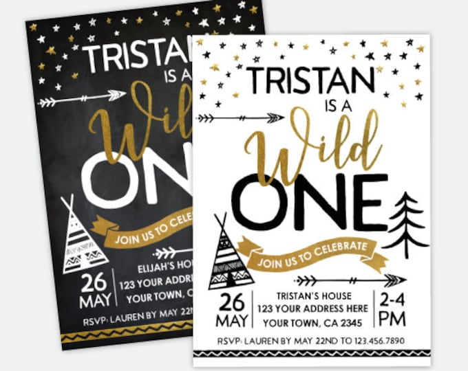 Wild One Birthday Invitation, Wild One First Birthday Party, Boys or Girls, Personalized DIGITAL Invitation, 2 Options