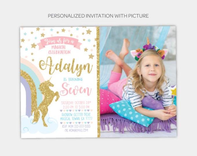 Unicorn Modern Birthday Invitation with Picture, Rainbow birthday Invitation, Gold and Pink Birthday Party, Any Age, DIGITAL
