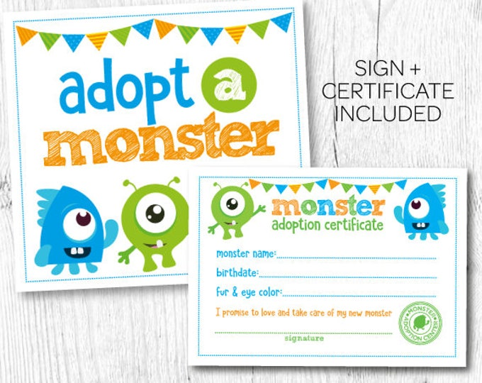 Adopt a monster, Little Monster 1st Birthday, Monster Birthday Party, Little Monster Birthday, Digital files, Instant download