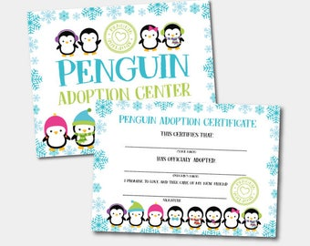 Penguin Adoption Center, Penguin Birthday Party, Winter Birthday Party, INSTANT DOWNLOAD, Dgital Files