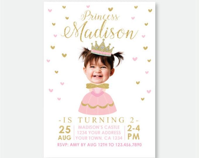 Princess Invitation with Photo, Royal Birthday Party, Princess Party, Crown Invitation, Personalized Digital Invitation, 2 Options
