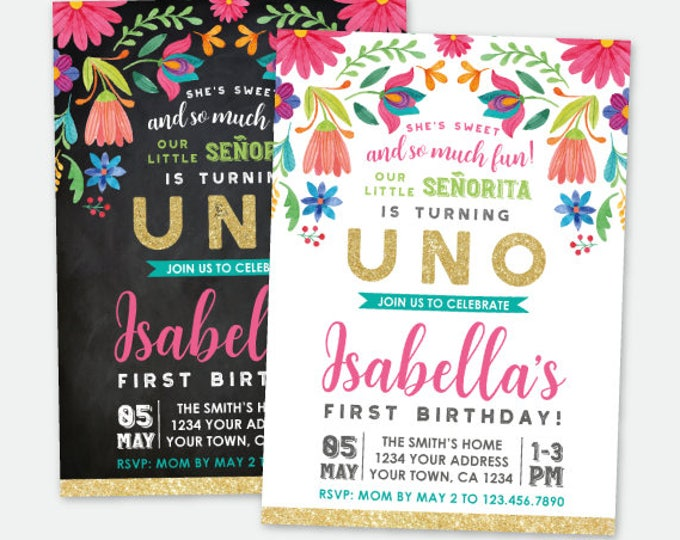 Fiesta First Birthday Invitation, Cinco de Mayo First Birthday Party, Little Señorita, Any Age, Personalized Digital Invite, 2 Options