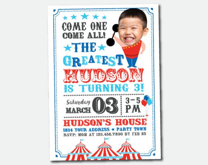 Carnival Invitation with photo, Circus Birthday Party, Circus Party, Personalized Invitation
