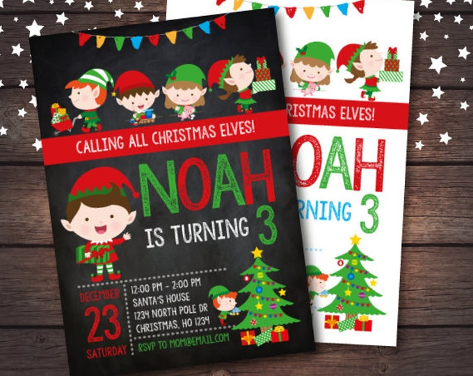 Elves Invitation, Holiday Party Invitation, Christmas Party, Christmas Birthday Invitation, DIGITAL
