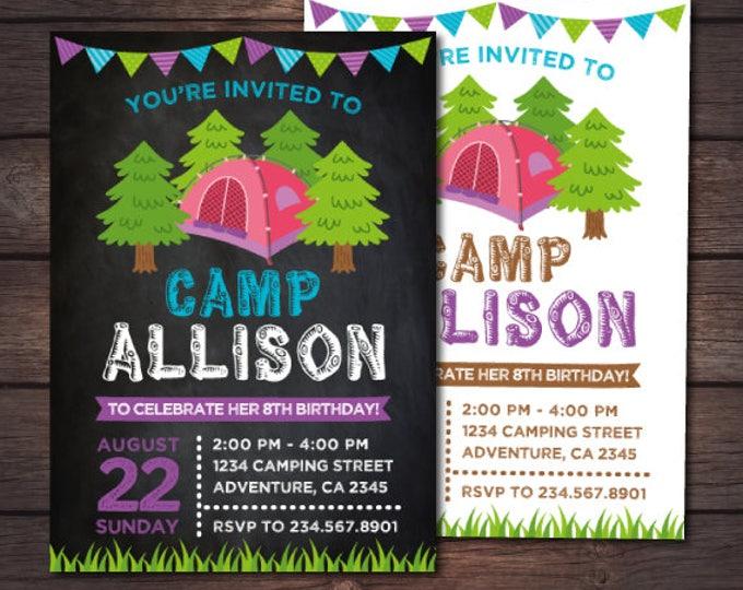 Camping Invitation, Summer Camp Birthday Party, Sleepover Birthday Invitation, Campout Invite, Personalized Digital Invitation, 2 options