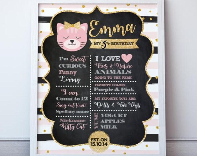 Kitty Cat Birthday Poster, Cat Birthday Stats Board, Digital, 2 Options