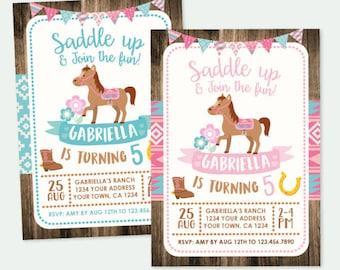 Horse Invitation, Pony Birthday Invitation, Cowgirl Birthday Invitation, Pony Birthday Party, Personalized DIGITAL Invitations, 2 Options