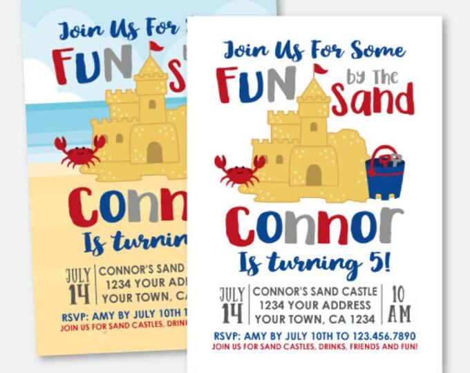 Sand Castle Party Invitation, Beach Birthday Invitation, Summer Party Invitation, Personalized Printable Invitation, 2 Options