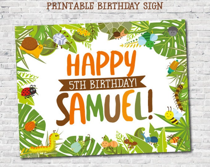 Bugs Personalized Birthday Sign, Creepy Crawlers Printable Party Sign, Insects Birthday Party Decorations, DIGITAL