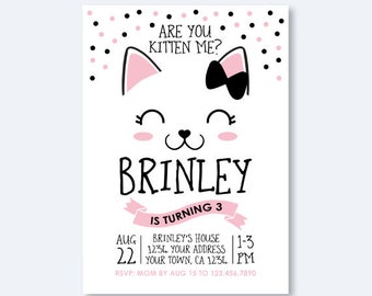 Kitty Birthday invitation, Kitty Cat Birthday Party, Cat Invitation, Are you kitten me Invitation, Personalized Digital Invitation
