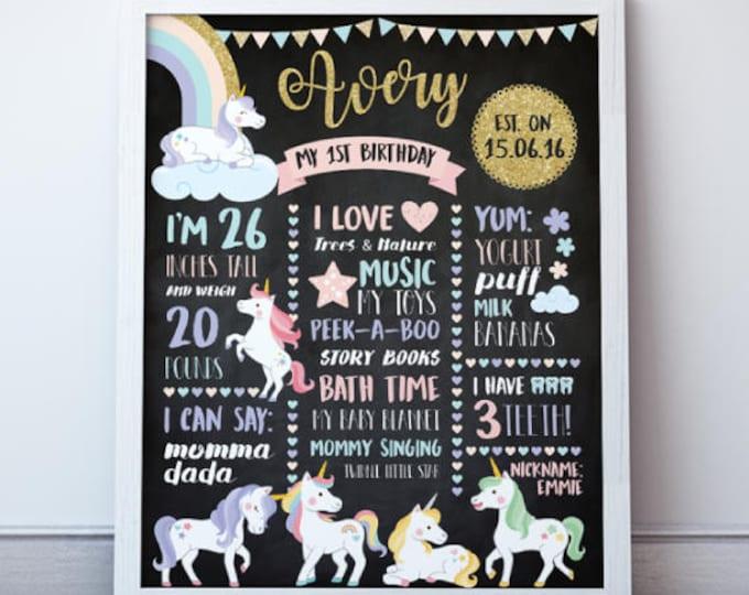 Unicorn Birthday Sign, Unicorn Birthday Printable, Unicorn Birthday Poster, Unicorn Birthday Board, 2 Options, DIGITAL