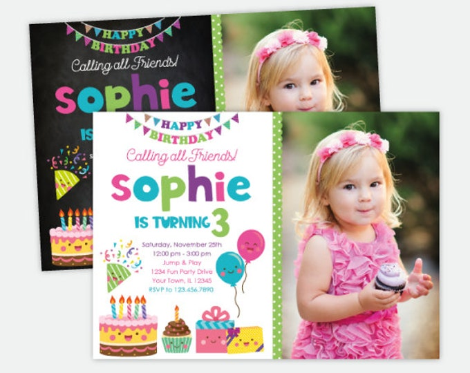 Happy Birthday Invitation with Photo, Kawaii Birthday Invitation, Cake Invitation, Balloon Invitation, Personalized Digital Invitations