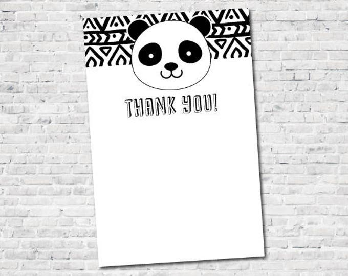 Panda Blank Thank You Cards, Black and white party, Panda Birthday Party, Panda Baby Shower, Blank, DIGITAL, Instant Download
