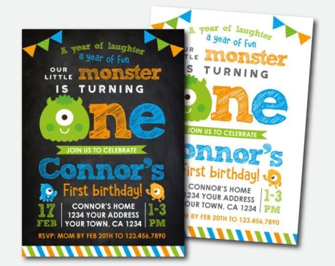 Little Monster Invitation, Monster Birthday Invitations, Monster Birthday Party, Little Monster 1st Birthday, Personalized Invitation