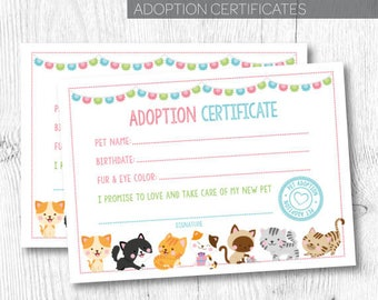 Cat adoption certificate, Pet adoption party, Kitty Adoption party, Pet Adoption certificate, Kitty cat birthday party, Instant download