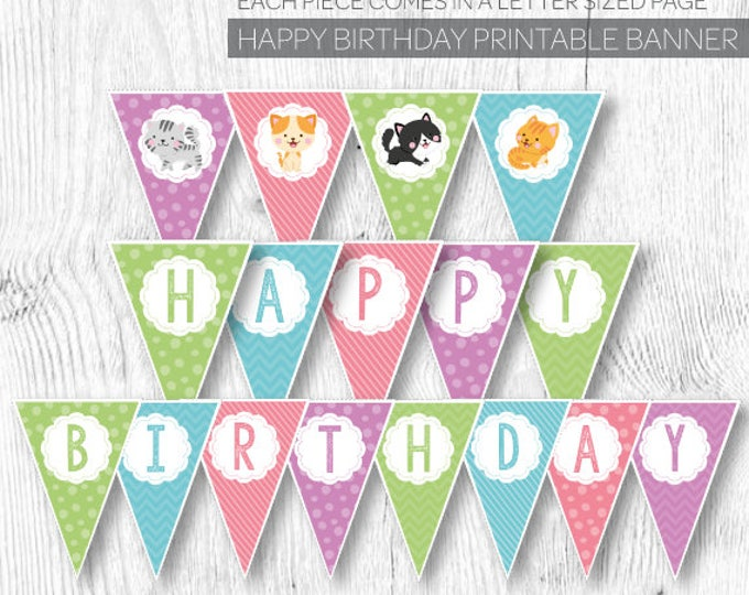 Cat Banner, Cat Birthday Party, Pet Adoption Party, Kitty Cat Birthday, Pet Adoption Banner, Printable Bunting, Instant download