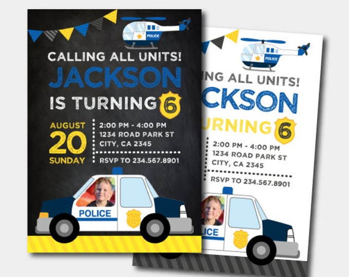 Police Invitation, Police Birthday Invitation, Police Birthday Party, Police officer Invitation with photo, DIGITAL, 2 Options