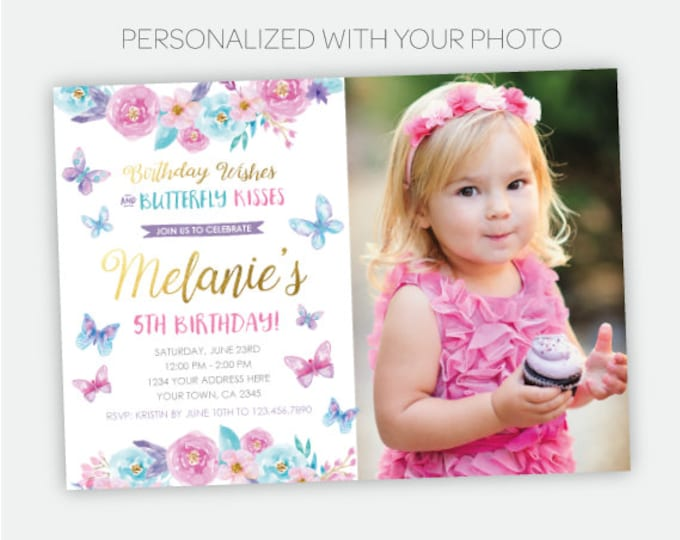 Butterfly Birthday Invitation with Photo, Spring Birthday Party, Garden Invitation, Floral Invite, Personalized Invitation, 2 options