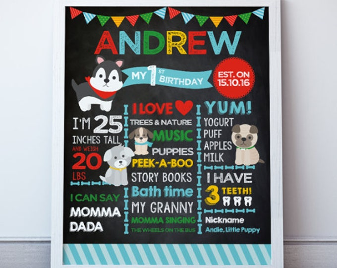 Puppy Birthday Party, First Birthday Poster, Puppy Adoption Birthday Party, Any age, DIGITAL