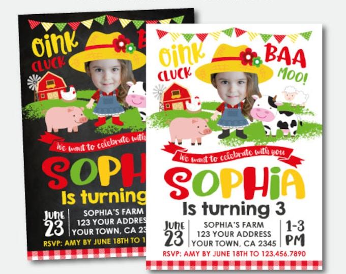 Farm Girl Birthday Invitation with Photo, Barnyard Birthday Invitation, Farm Animals Invitation, Personalized Digital Invitation, 2 options