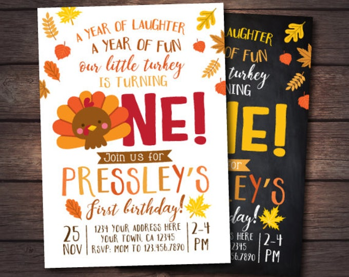 Little Turkey First Birthday Invitation, Thanksgiving First Birthday Invites, DIGITAL personalized invitation, 2 Options