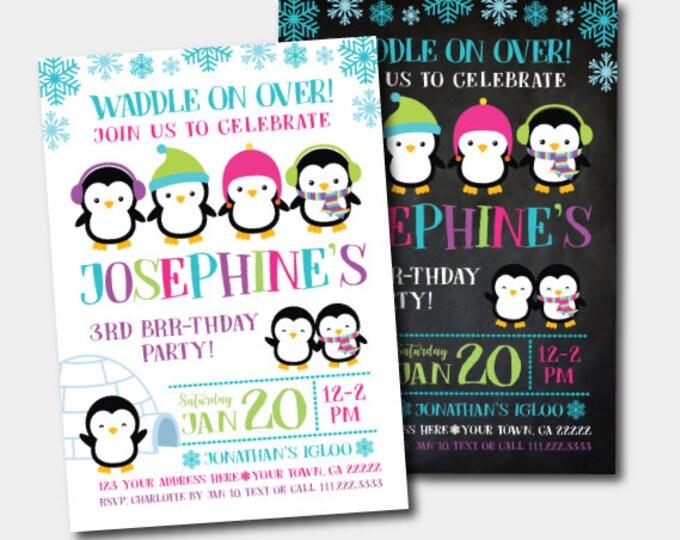 Penguin Birthday Invitation, Winter Birthday Party, Winter Wonderland Invitation, DIGITAL Personalized Invite