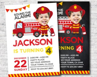 Firefighter Invitation with photo, Fire fighter Birthday Party, Fireman Invitation, Firetruck Birthday Invitation, DIGITAL, 2 Options