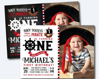 Pirate First Birthday Invitation with Photo, Pirate Birthday Party, Pirate Ship Invitation, Ahoy Matey, Personalized Invitation, 2 options