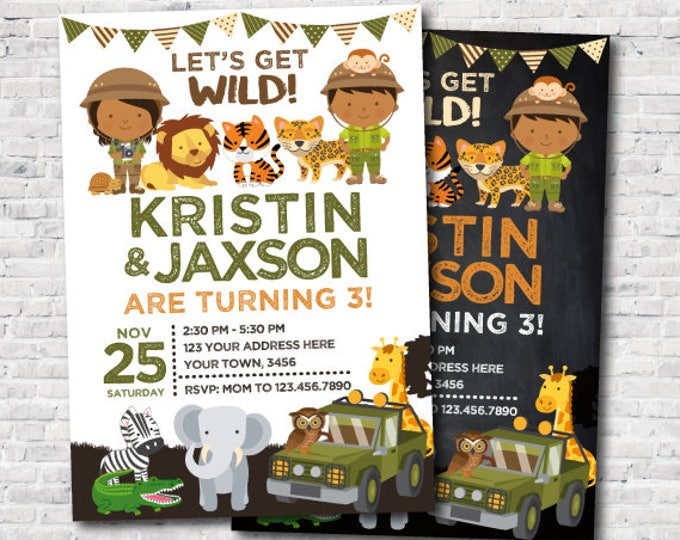 Safari Siblings Birthday Invitation, Joint Party Invitation, Jungle Birthday Party, Zoo Birthday Invitation, Personalized DIGITAL, 2 Options
