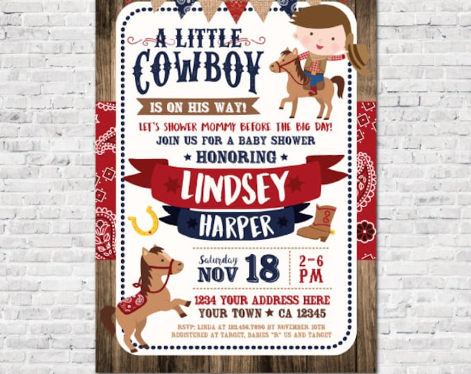 Cowboy Baby Shower Invitation, Boy Baby Shower Invitation, Buckaroo baby shower, Horse Baby Shower, Personalized Digital Invitation