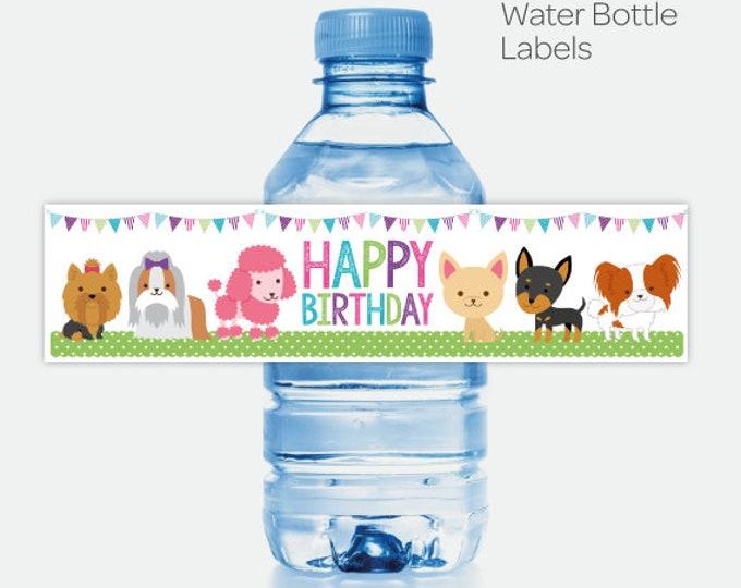 Puppy Water Bottle Labels, Pet Adoption Birthday Party, Puppy Birthday, Printable Labels, Instant Download