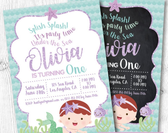 Mermaid First Birthday Invitation, Under the Sea First Birthday Invitation, Mermaid Invitation, Any age, DIGITAL, 2 Options