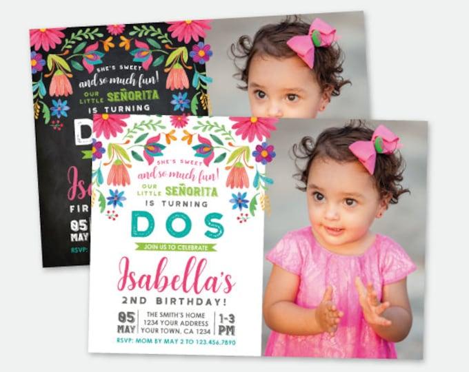 Fiesta Birthday Invitation with Photo, Cinco de Mayo Birthday Party, Little Señorita, Any Age, Personalized Digital Invite, 2 Options
